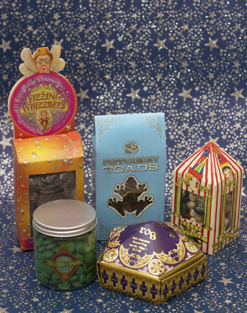 Fizzing Whizzbees, Peppermint Toads, Bertie Bott's Every Flavour Beans, U-No-Poo and a Chocolate Frog