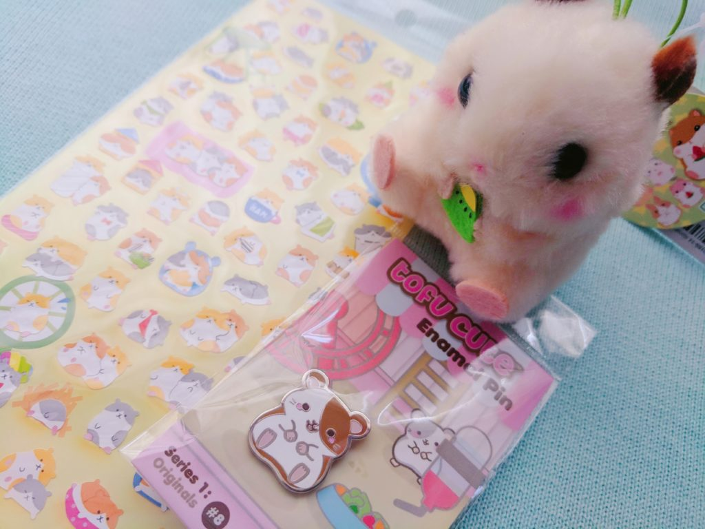 Tofu Cute Review Japanese Snacks and Kawaii Collectables Hamster Stickers Hamster Enamel Pin